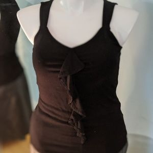 WHBM black tank with ruffle - Size M